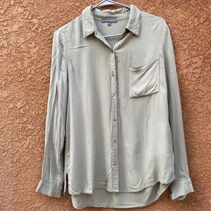 Olive button down blouse size small